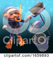 Underwater Scuba Snorkel Diver 3d Cartoon Character Watches A Broom And Rubbish Bin Sink In The Polluted Water