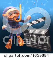 Cartoon Snorkel Scuba Diver Underwater And Looking At A Movie Makers Film Slate