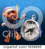 Diver Wearing Scuba Snorkel Equipment Watching A Magnetic Compass Sink In The Water