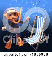 Sinking Deckchair Passes By A Snorkel Scuba Diver Under The Sea 3d Illustration