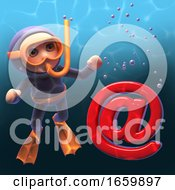 Cartoon 3d Underwater Snorkel Scuba Diver Looking At An Email Address Symbol Sinking In The Ocean