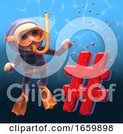 3d Diver Wearing Snorkel Scuba Gear Looking At A Hash Tag Symbol Sinking In The Water