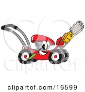 Red Lawn Mower Mascot Cartoon Character Holding Up A Saw