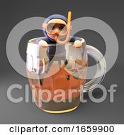 Slightly Drunk Scuba Snorkel Diver 3d Character Climbs Out Of A Half Full Pint Of Beer