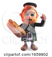 Hungry Scottish Man In Traditional Kilt Eating A Delicious Hotdog