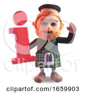 Funny 3d Cartoon Scottish Man With Red Beard And Kilt Holding An Information Symbol