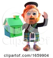 Happy Scottish Man In Traditional Kilt Holds A Small Green House