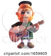 Musical Sottish Man In Kilt Playing A Steel Strung Acoustic Guitar