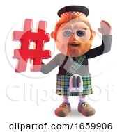 Bearded Scottish Man In Traditional Kilt Waves And Holds A Hashtag Internet Symbol