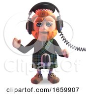 Relaxed Scottish Man In Traditional Kilt Listening To Music On His Headphones