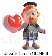Poster, Art Print Of Romantic Scottish Man In Traditional Kilt Holding A Lovely Red Heart