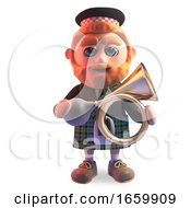 Cartoon 3d Scottish Man With Red Beard And Kilt Holding An Old Antique Car Horn
