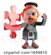 Poster, Art Print Of Clever 3d Scottish Man With Red Beard And Kilt Holding A Piece Of The Jigsaw Puzzle