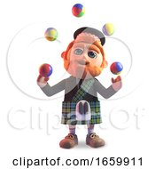 Cartoon 3d Scottish Man With Red Beard And Tartan Kilt Juggling Balls