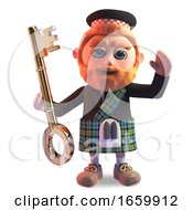 Funny Cartoon 3d Scottish Man With Red Beard And Tartan Kilt Holding A Gold Key