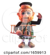 3d Funny Cartoon Scottish Man With Red Beard And Tartan Kilt Carrying A Ladder