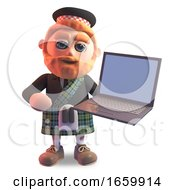 Cool 3d Scottish Man With Red Beard And Tartan Kilt Holding A Laptop Computer Device