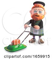 Poster, Art Print Of Funny Cartoon 3d Scottish With Red Beard And Tartan Kilt Mowing The Lawn With His Lawnmower