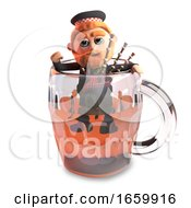 3d Cartoon Funny Scottish Man With Red Beard And Tartan Kilt Climbs Out Of A Pint Of Beer With His Bagpipes
