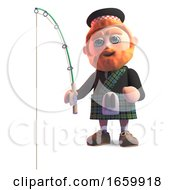 Relaxed Scottish Man In Traditional Kilt Fishing