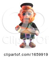 Lucky 3d Scottish Man In Kilt Holding A Gold Bullion Ingot Bar