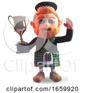 Triumphant Scottish Man In Kilt Wins The Gold Cup Trophy Award by Steve Young