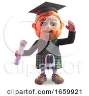 Successfull Scottish Man In Kilt And Mortar Board Graduates Holding His Diploma