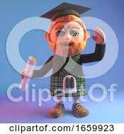 Educated Scottish Man In 3d Wearing A Tartan Kilt And Mortar Board Holding A Diploma