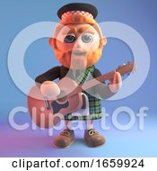 Musical 3d Cartoon Scottish Man In A Tartan Kilt And Sporran Playing The Acoustic Guitar