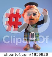 Sociable 3d Scottish Man In Tartan Kilt Holding A Hash Tag Symbol