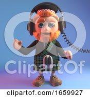 Music Lover 3d Scottish Man In Tartan Kilt Listening To Music On His Headphones