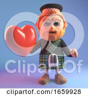 Poster, Art Print Of Romatic 3d Scottish Man In Tartan Kilt With Sporran Holding A Red Heart
