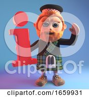 3d Scottish Man In Tartan Kilt And Sporran Holding An Information Symbol