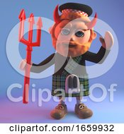 Wicked Scottish Man In Kilt Wearing Devils Horns And Brandishing A Trident