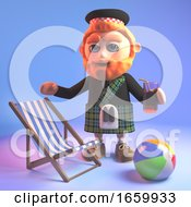 Relaxed Scottish Man In Kilt On Holiday With His Deck Chair Beachball And Drink
