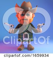 Cartoon Scottish Man In Kilt Wearing A Cowboy Stetson Hat And Holding Two Guns
