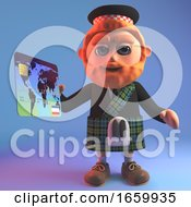 Cartoon Scottish Man In Traditional Kilt Paying For His Purchase With A Debit Card