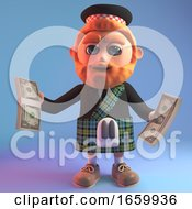 Wealthy Scottish Man In Tradtional Kilt Holding Wads Of US Dollar Bills