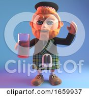 Relaxed Scottish Man In Traditional Kilt Drinking A Soft Drink From A Glass