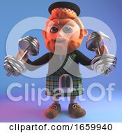 Cartoon Red Bearded Scottish Man In Kilt Exercising With Weights