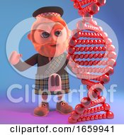 Cartoon Scottish Man In Traditional Kilt Looking At A Genetic DNA Strand