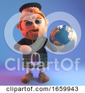 Cartoon Scottish Man With Red Beard And Kilt Holding A Globe Of The Earth