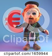Financially Minded Sottish Man In Kilt Holding A Euro Currency Symbol