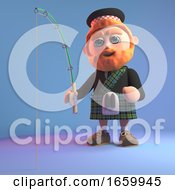 Cartoon Scottish Man With Red Beard And Kilt Fishing With His Fishing Rod
