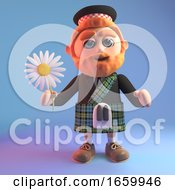 Peaceful Scottish Man In Kilt With A Red Beard Holding A Daisy Flower