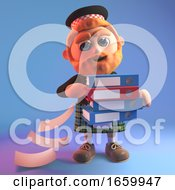 Careless Cartoon Scottish Man In Kilt Drops Lots Of Files From The Folders He Is Carrying