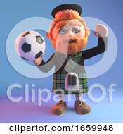 Sports Minded Scottish Man With A Red Beard And Wearing A Kilt Goes To Throw The Football
