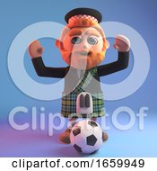 Cartoon 3d Scottish Man With Beard And Wearing A Kilt Goes To Kick The Football