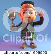 Champion Cartoon 3d Scottish Man In Kilt With Red Beard Holds The Gold Cup Trophy Prize Up High