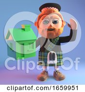 Eco Friendly Scottish Man With Red Beard And Kilt Holds A Small Green House